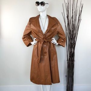 70s Vintage Leather Trench Coat